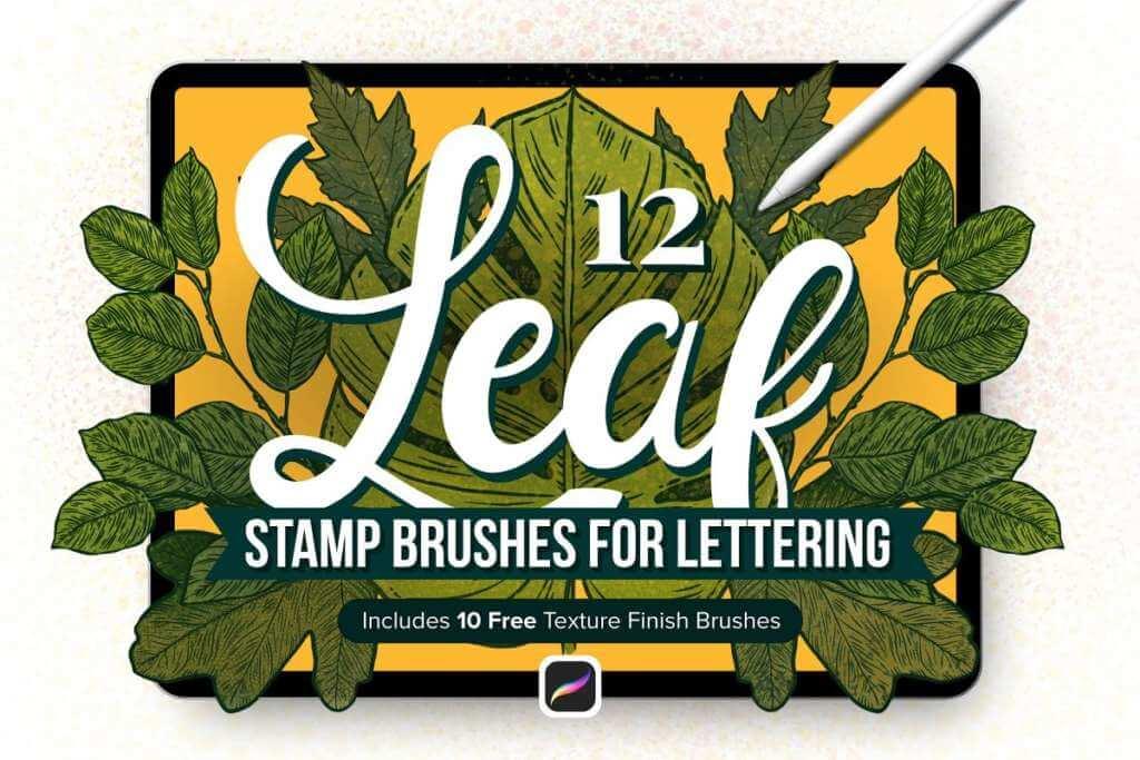 12 Leaf Procreate Stamp Brushes