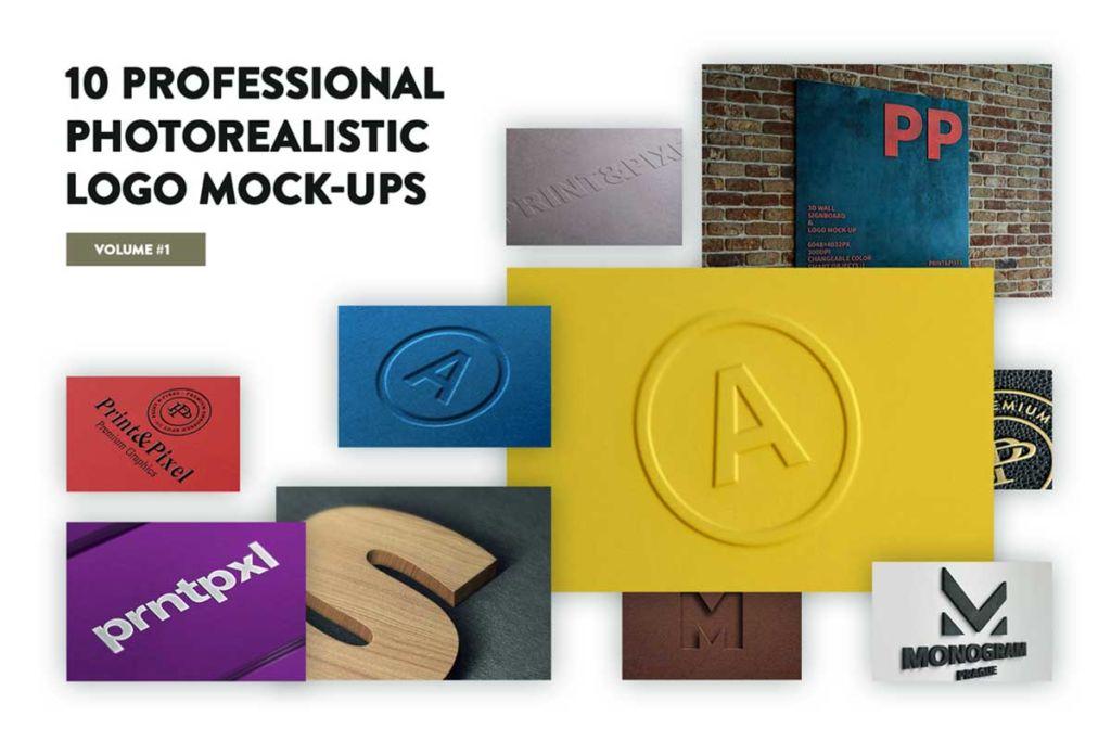 10 Premium Logo Badge Mockups