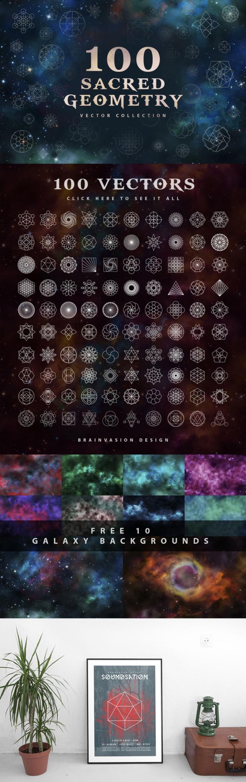 100 Sacred Geometry Vectors