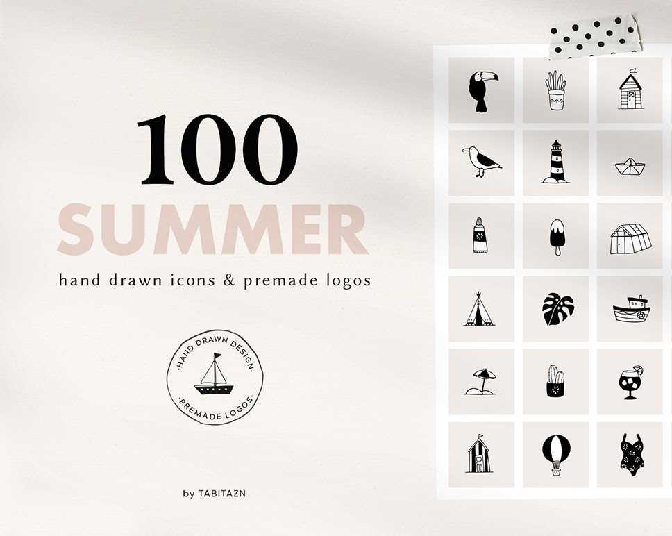 100 Summer Hand Drawn Icons Logos