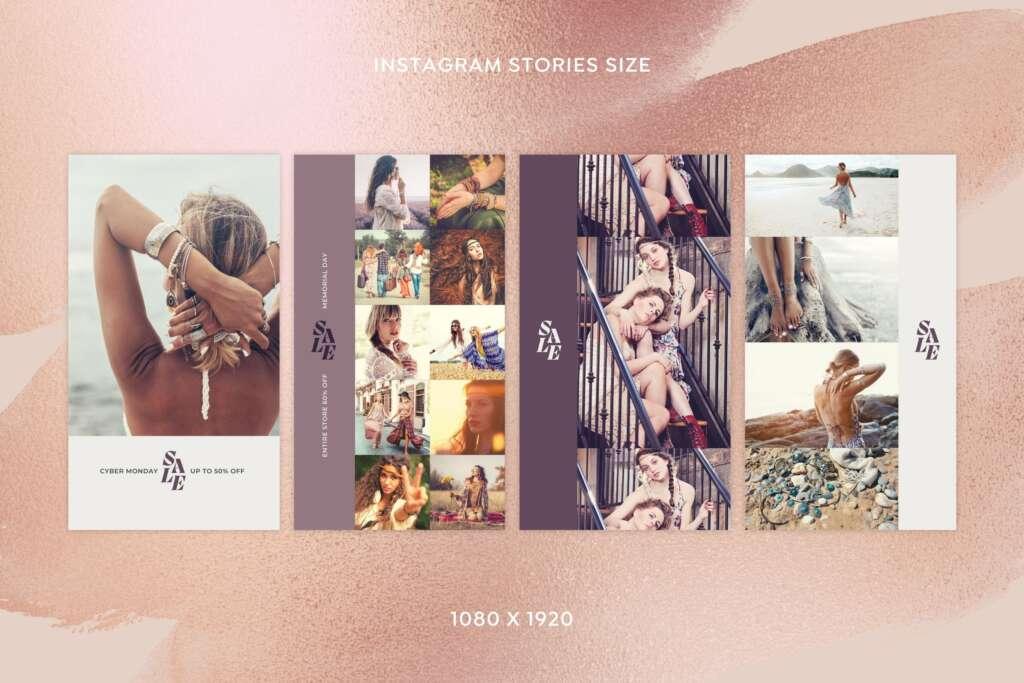 ファッション向けインスタ投稿&ストーリーズ対応セールスプロモーションテンプレート for Canva