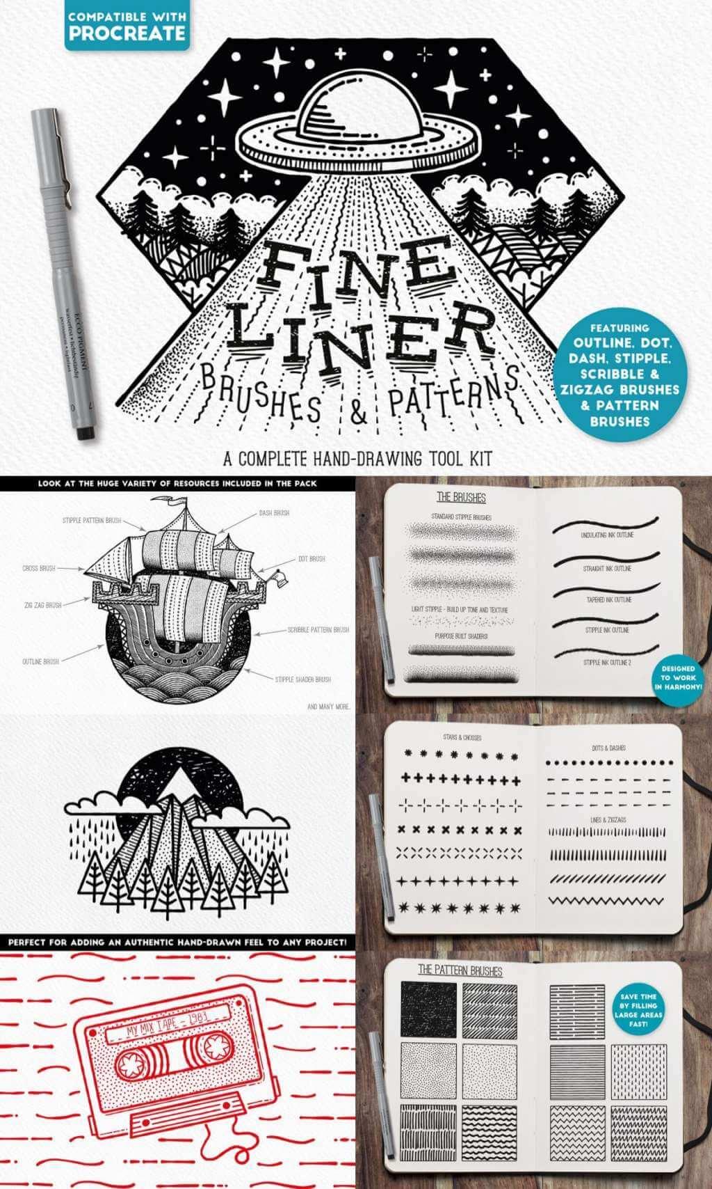 FINE LINER BRUSHES & PATTERNS – PROCREATE
