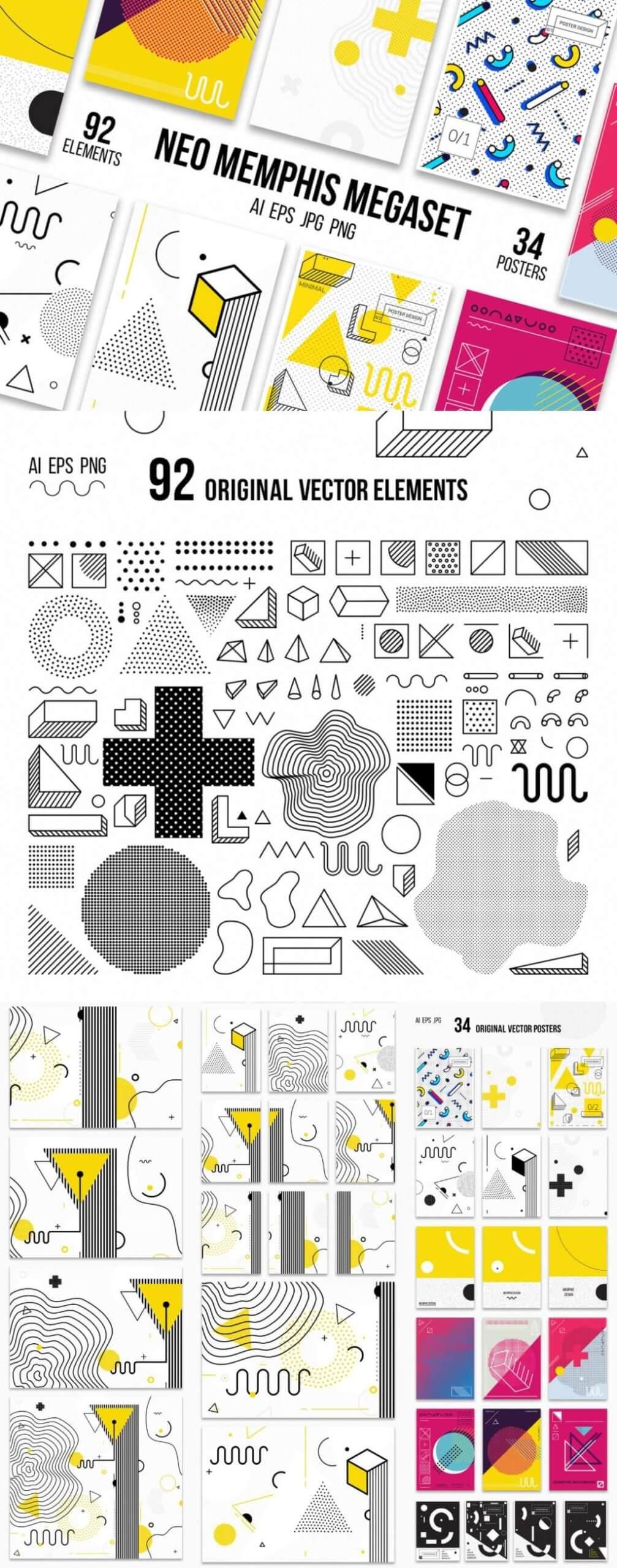 126 Posters & Elements Memphis Set