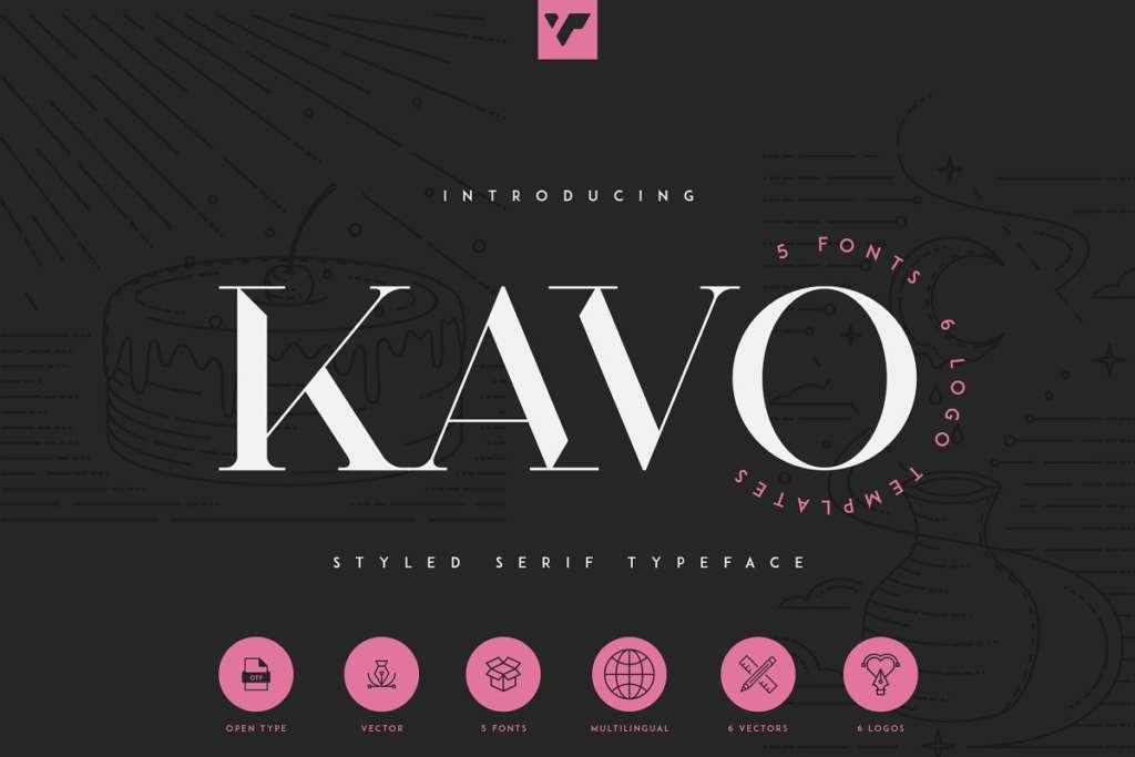 Kavo Styled Serif Typeface   5 fonts