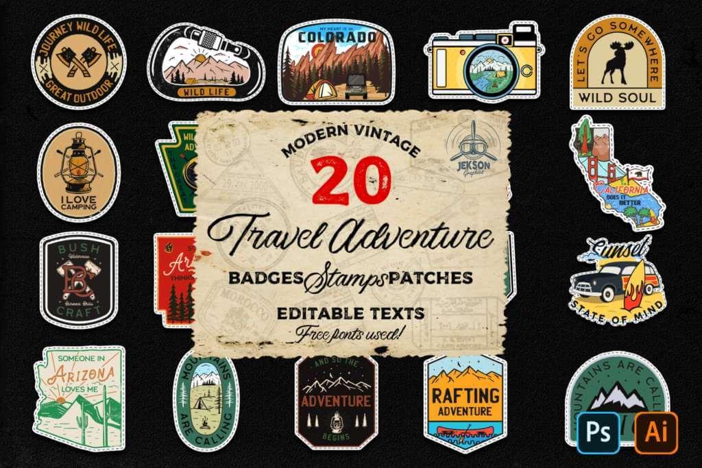 20 Camp Adventure Badges Vintage Travel Patch SVG