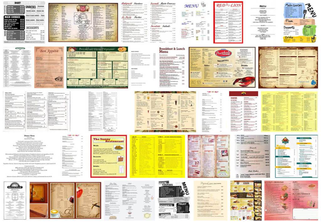 「restaurant」「menu」で画像検索した結果