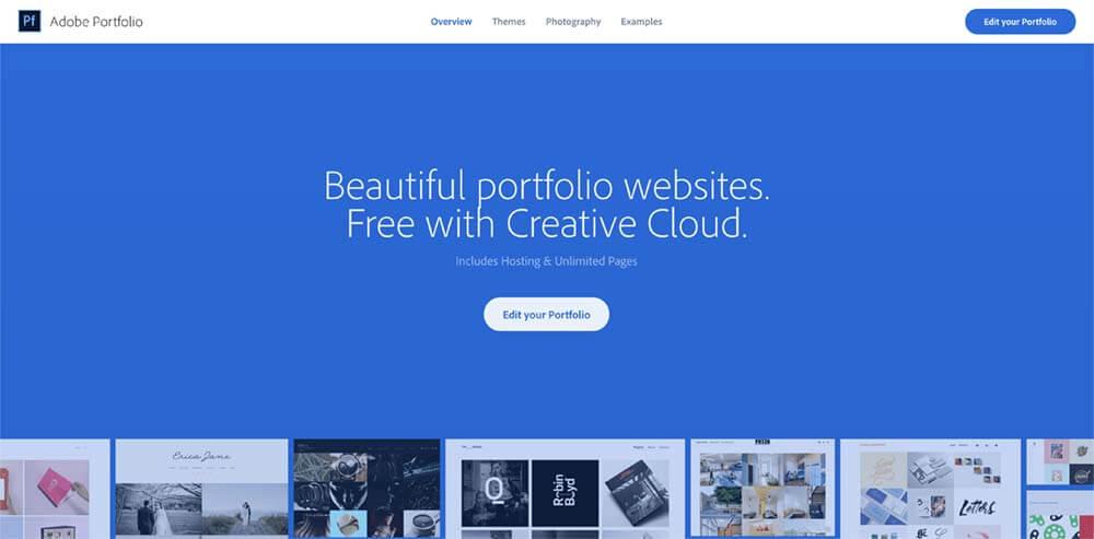 adobe portfolioホーム画面