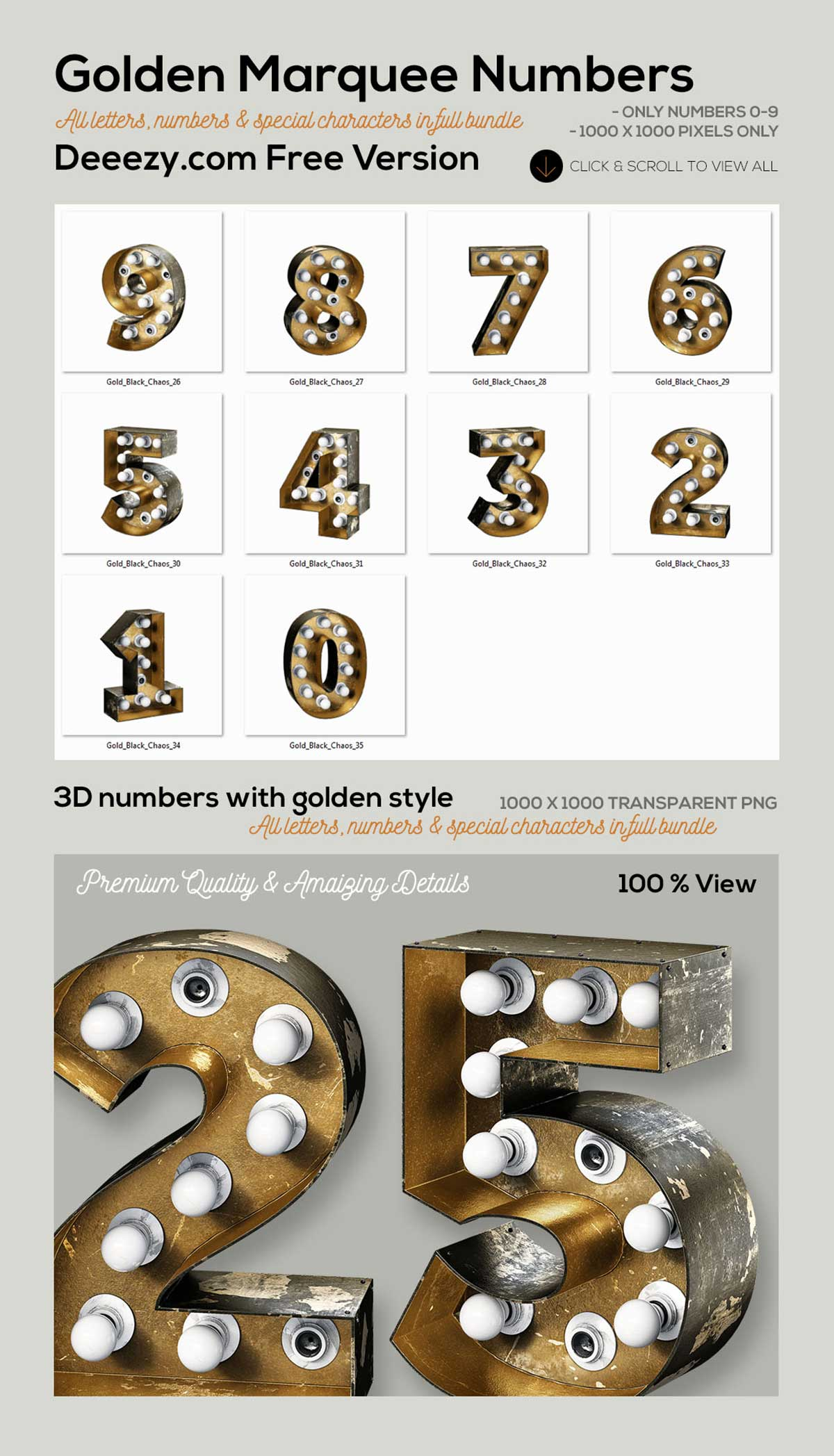 Golden Marquee Light Bulbs Numbers