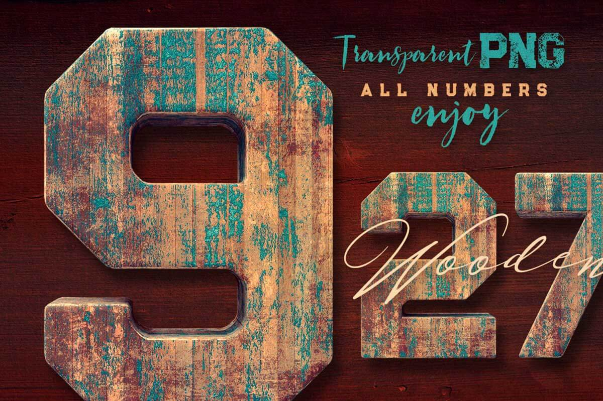 Grunge Painted Wood 3D Numbers