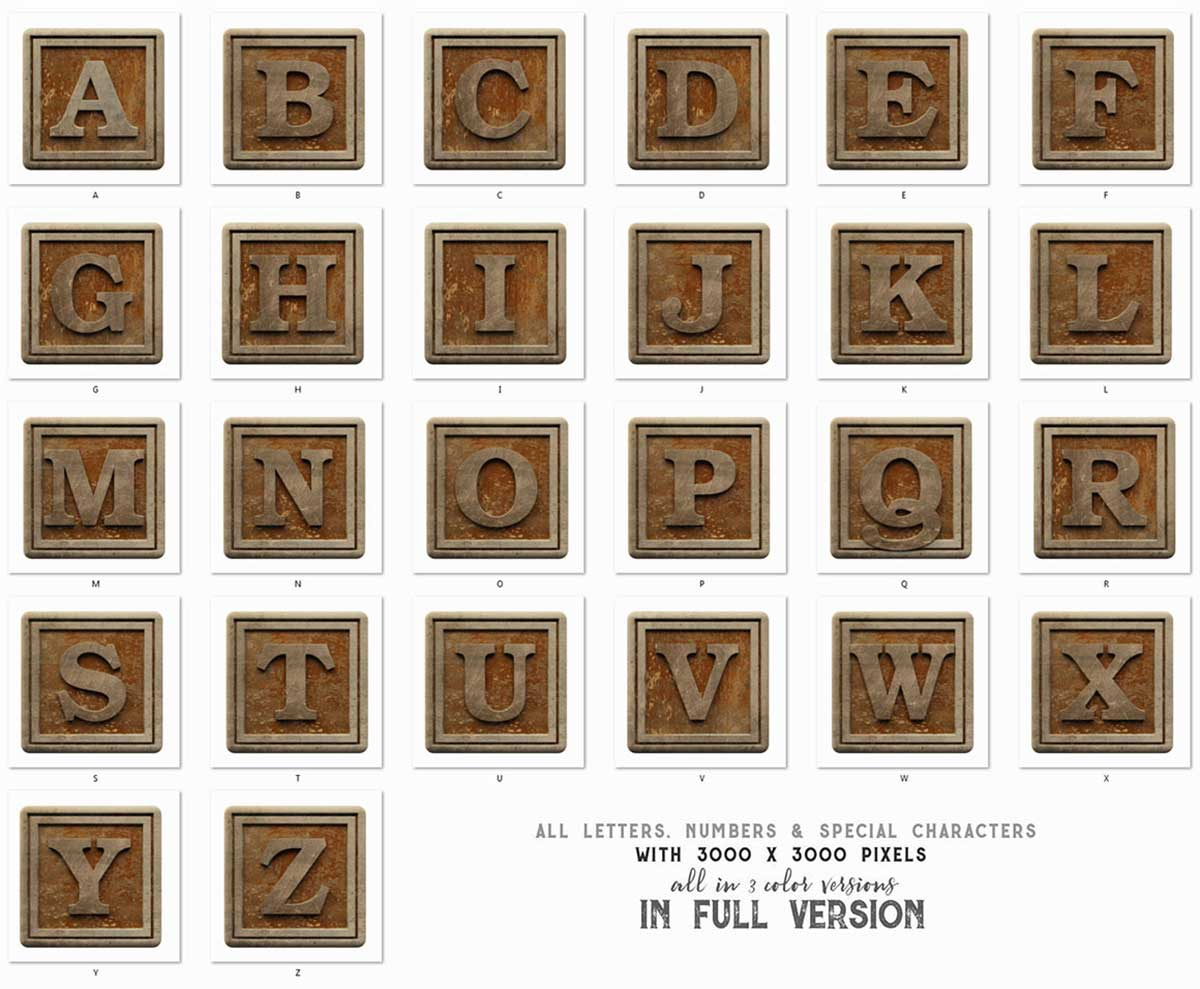 Vintage Wooden Box 3D Lettering