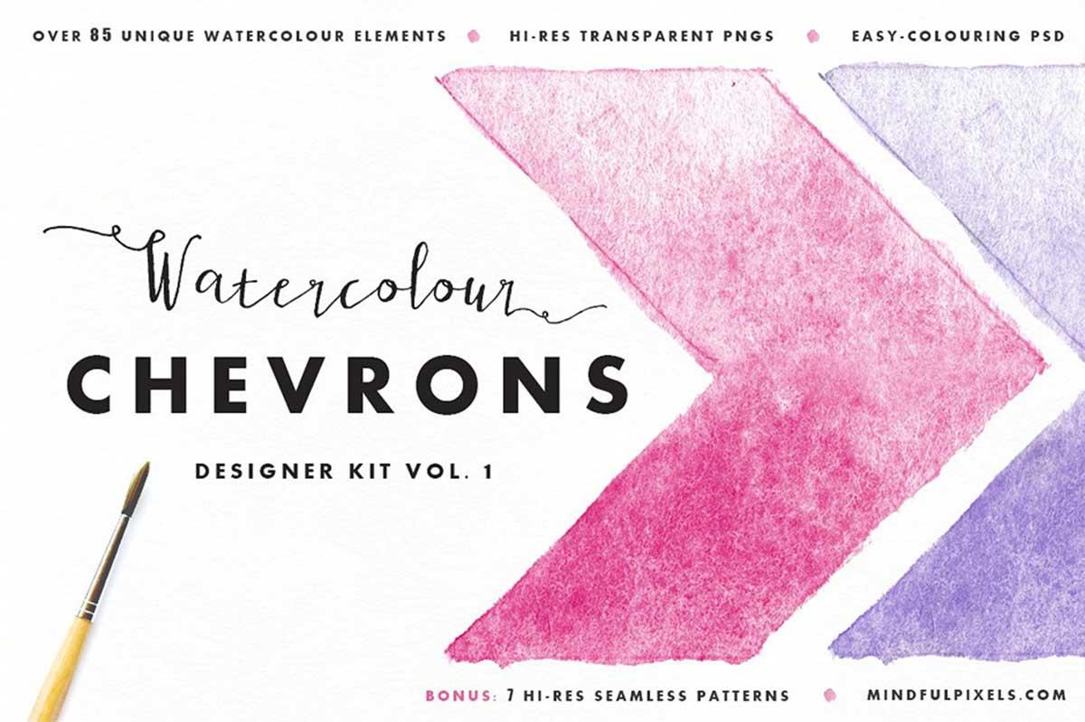 Watercolour Chevrons Pack