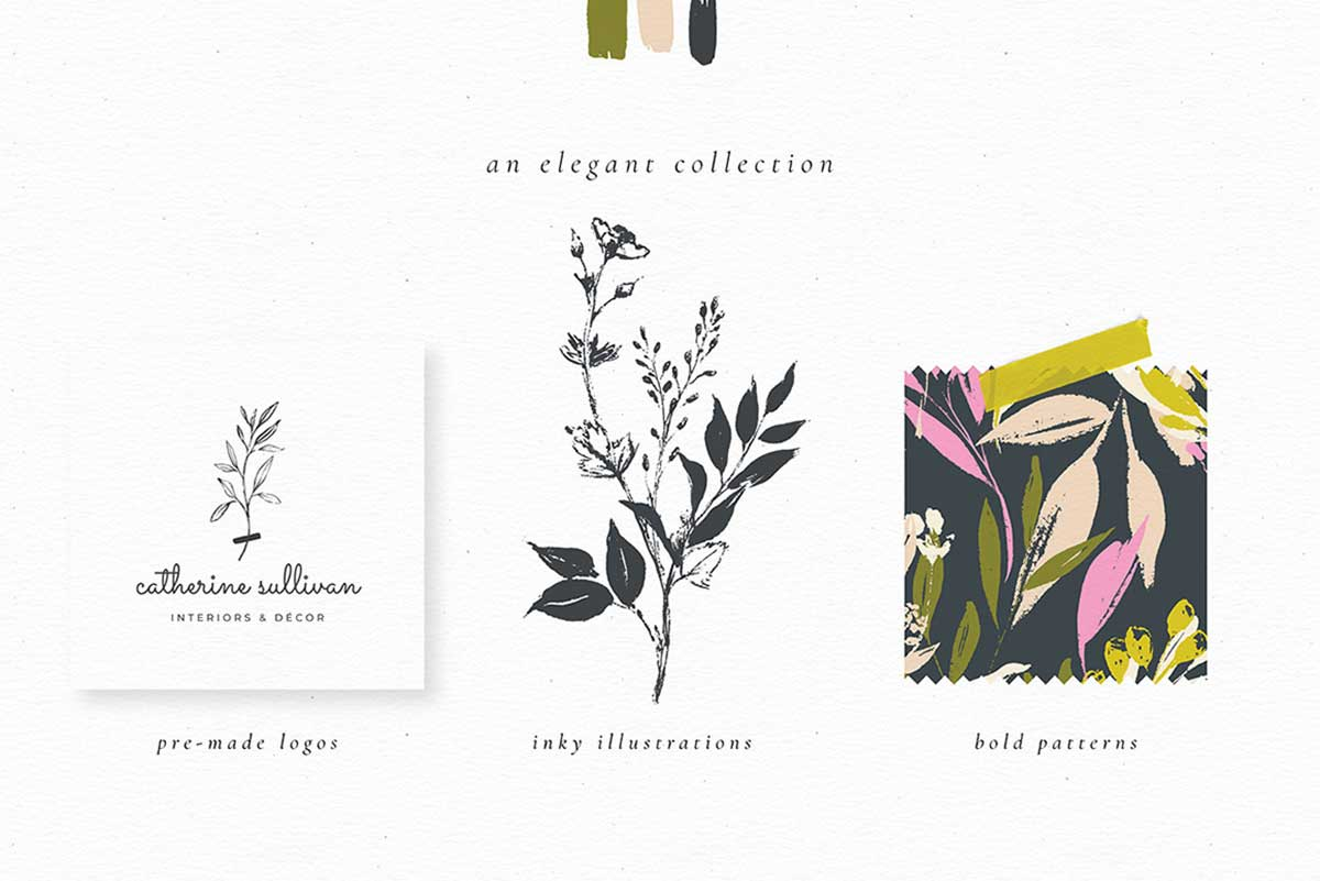 INK BOTANICALS LOGOS & PATTERNS