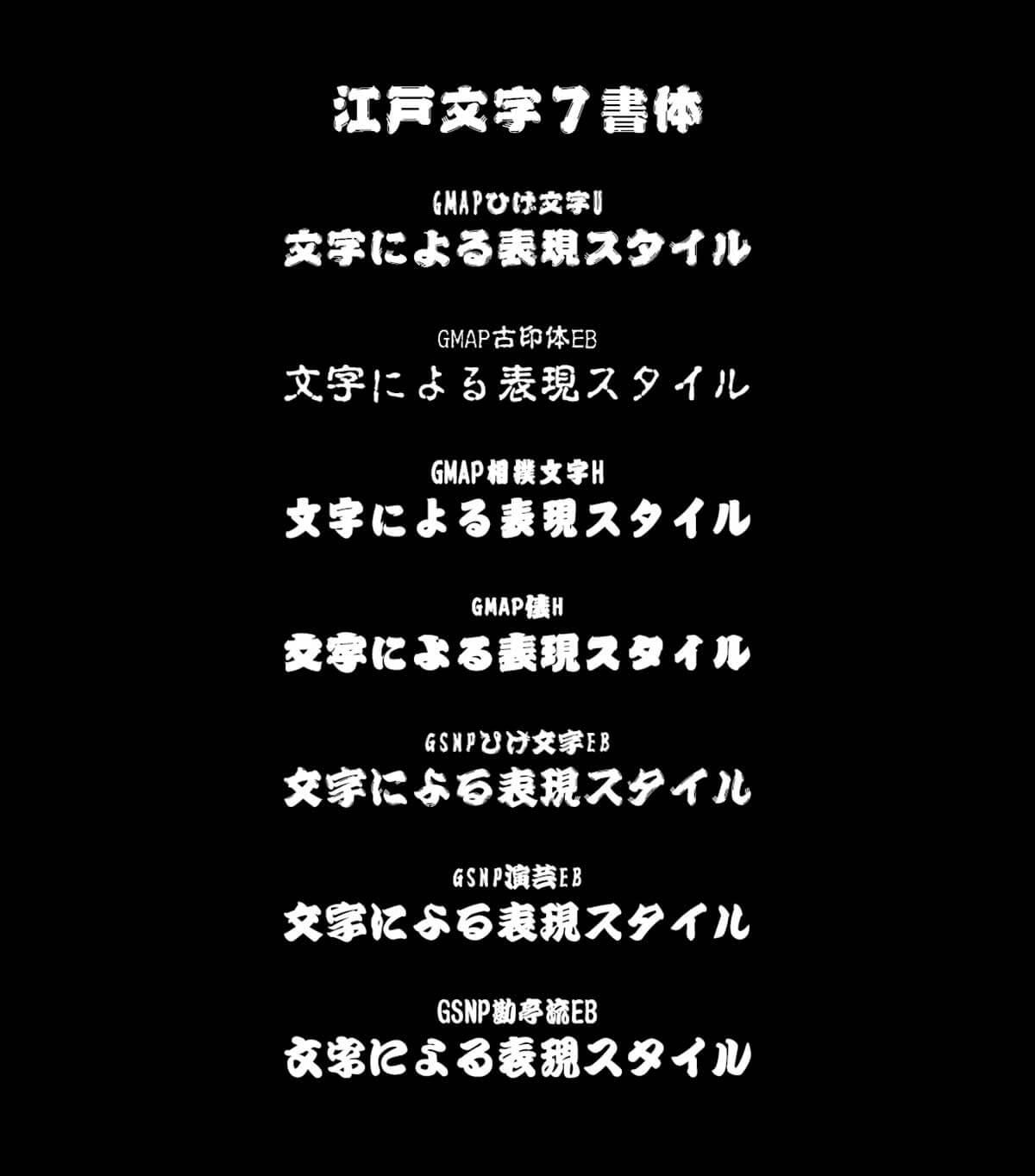 江戸文字7書体