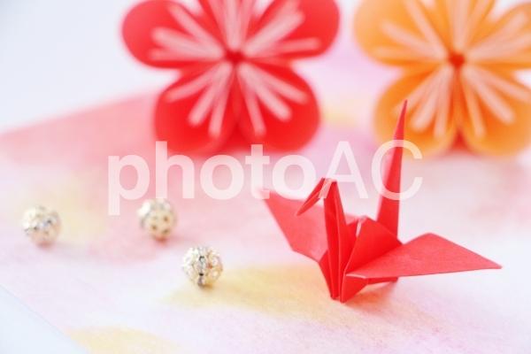 年賀状 折り鶴 梅の花