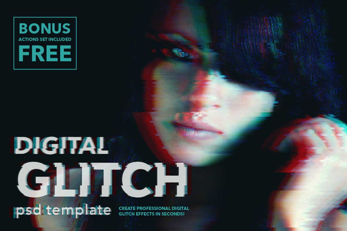 DIGITAL GLITCH EFFECT .PSD TEMPLATES