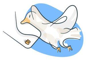 メールマガジンを届ける鳥