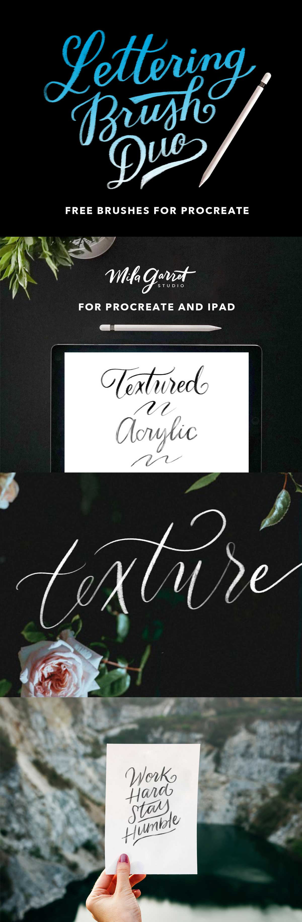 FREE PROCREATE LETTERING BRUSH DUO