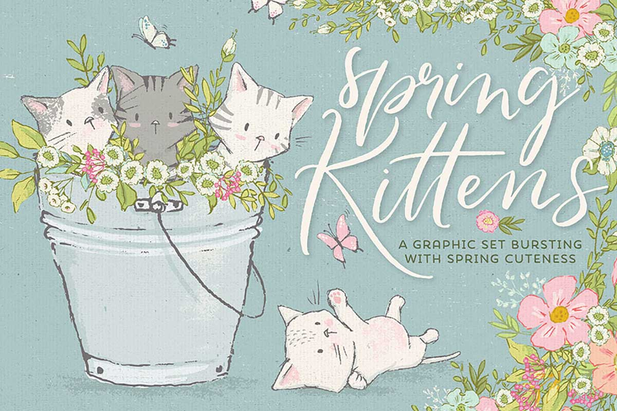 Spring Kittens & Flowers Graphics Set