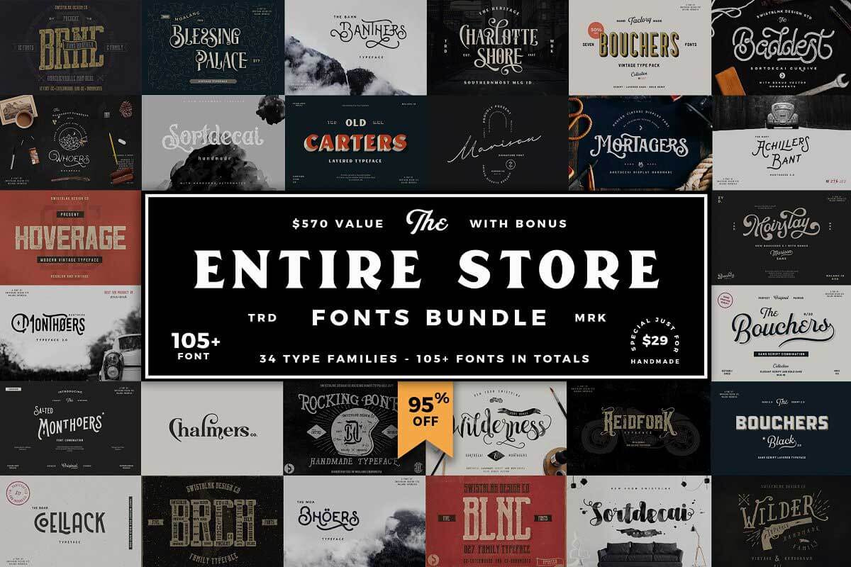 Entire Store Bundle - 105+ Fonts