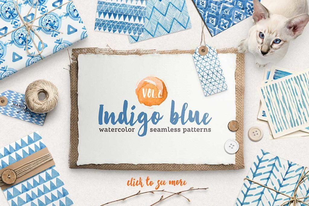 Indigo Watercolour Patterns Pack