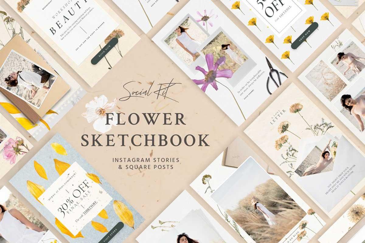 FLOWER SKETCHBOOK STORIES SOCIAL KIT