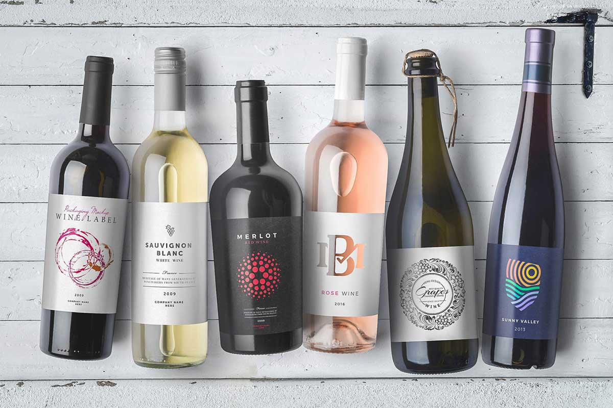 Wine Bottles Mockups Vol. 1