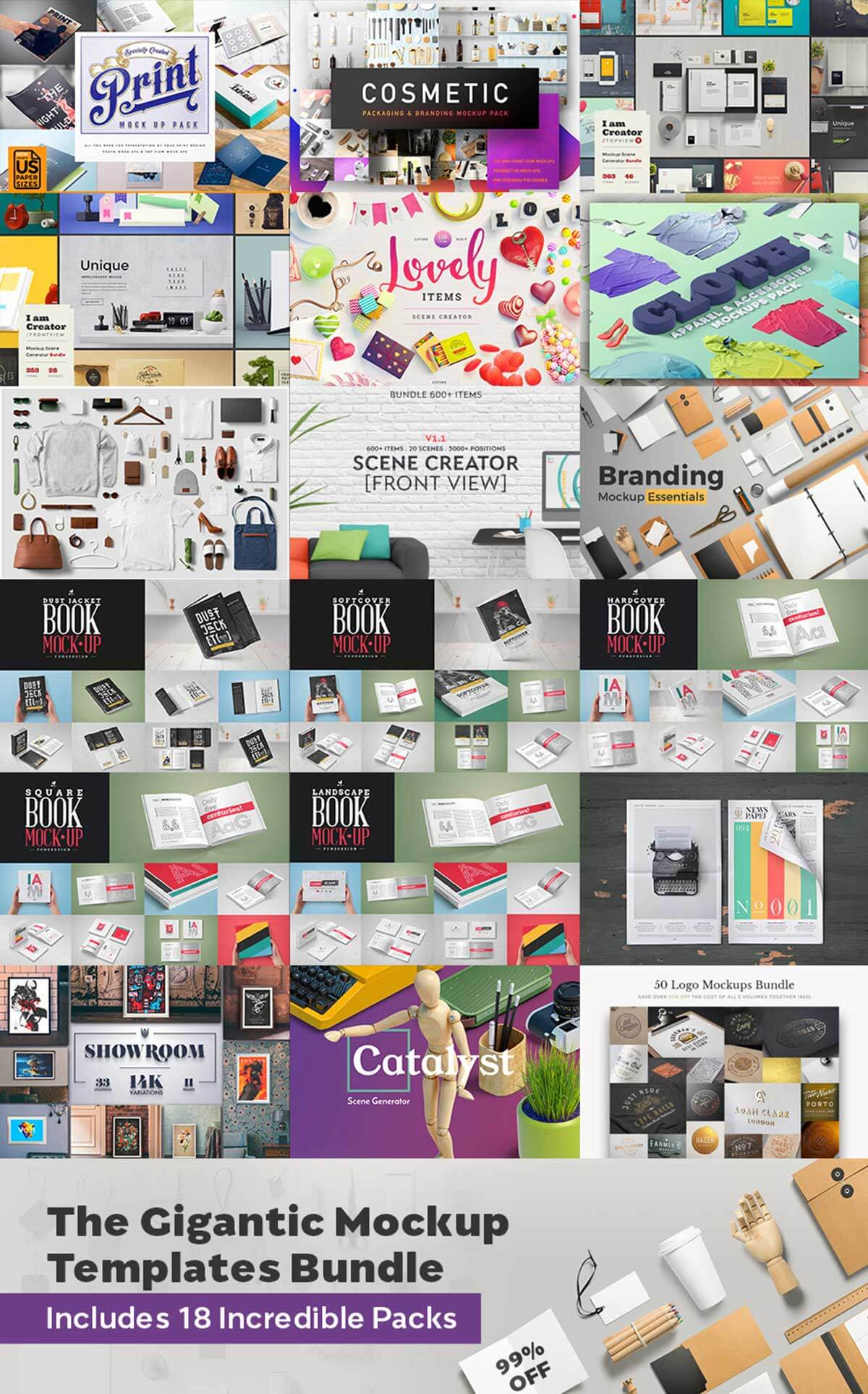 The Gigantic Mockup Templates Bundle: With 18 Incredible Packs