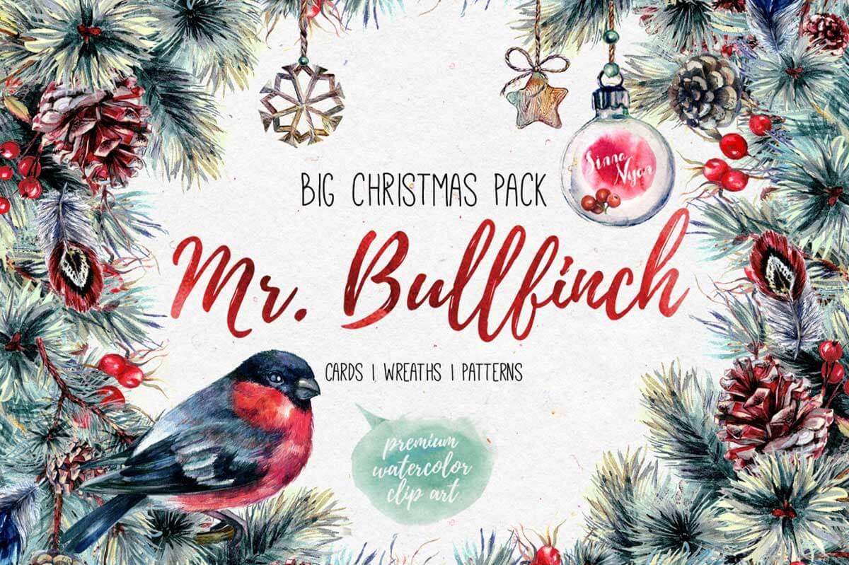 Mr Bullfinch Watercolor Clip-Art Xmas