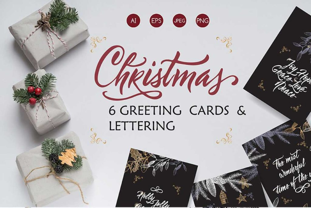 6 Christmas cards and lettering