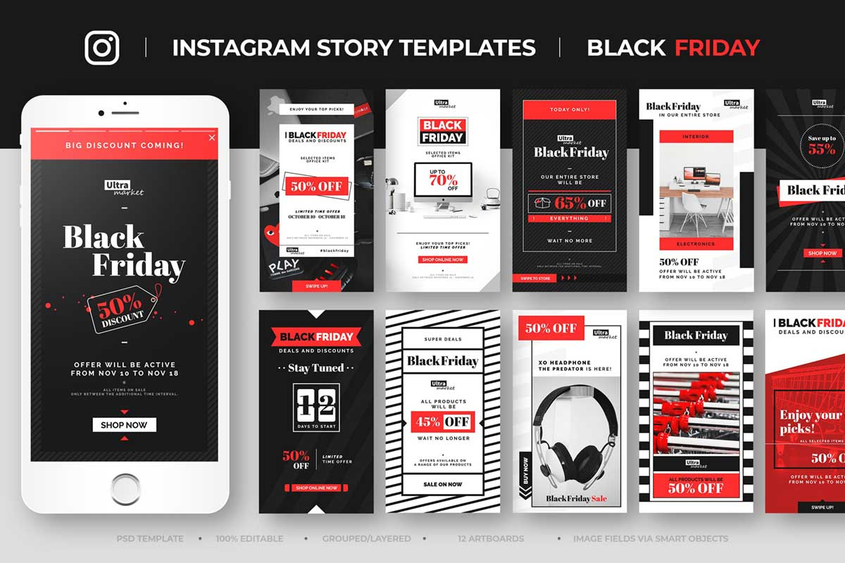 Black Friday Instagram Story Feed Templates