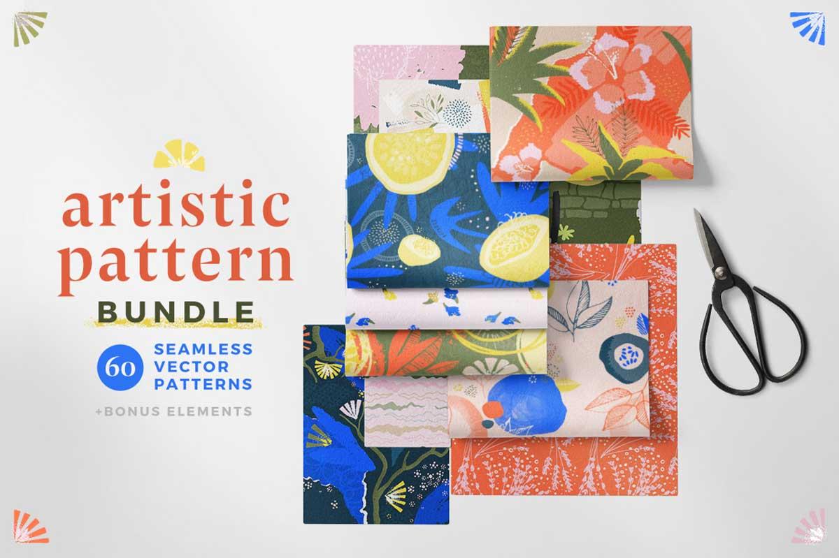 おしゃれなシームレスパターン60種セット:ARTISTIC PATTERN COLLECTION