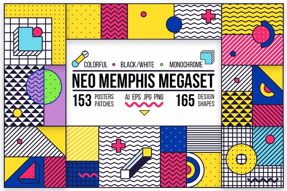 318 Posters & Elements Memphis Set