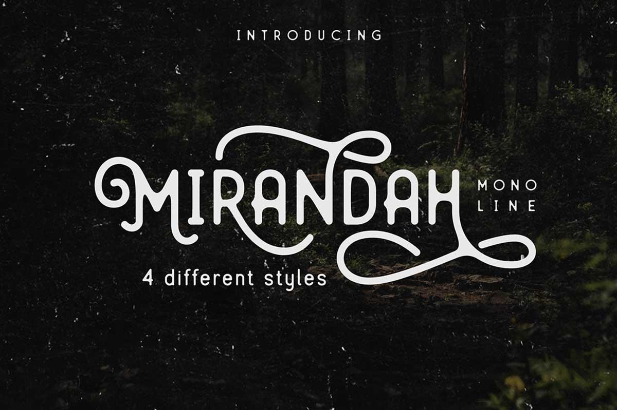 Mirandah – Monoline Font Family