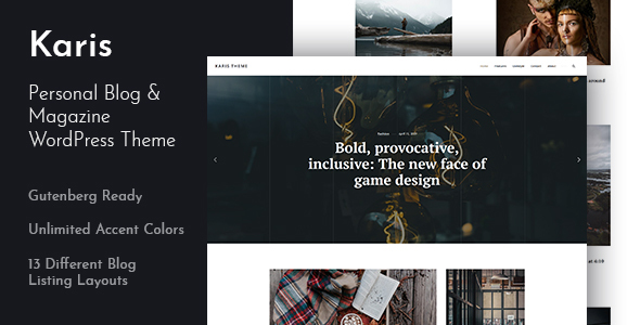 Karis - Personal Blog & Magazine WordPress Theme