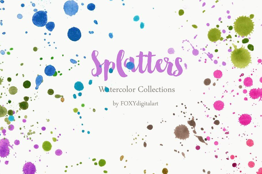 Watercolor Paint Brush Splatters 45