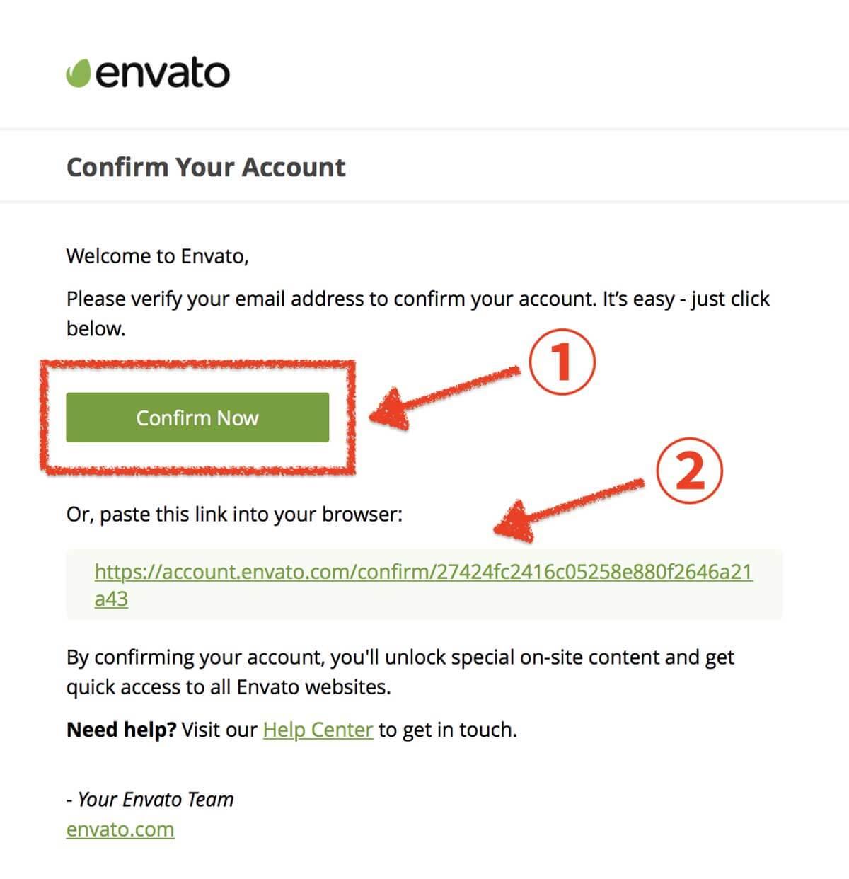 envato accountのメール