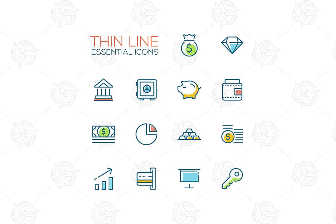 Business, Finance, Symbols - thick line icons