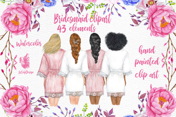Bridesmaid Wedding Robes Clipart
