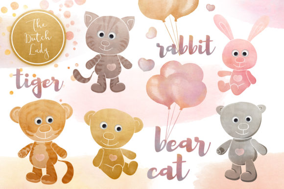 Cuddly Toy Animals Clipart Set