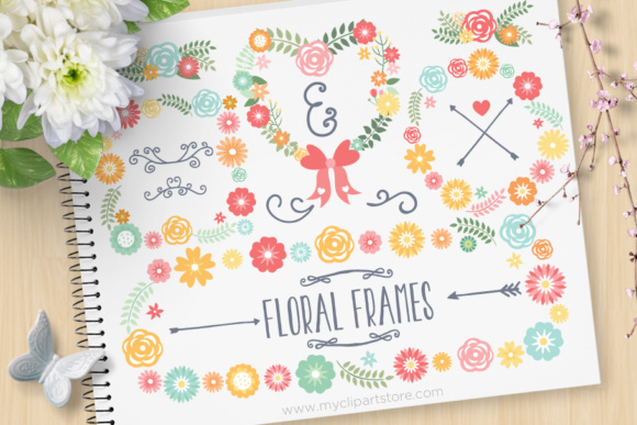 Floral Wreath Frames Clipart