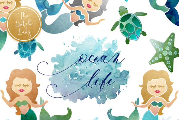 Mermaid & Ocean Life Clipart Set