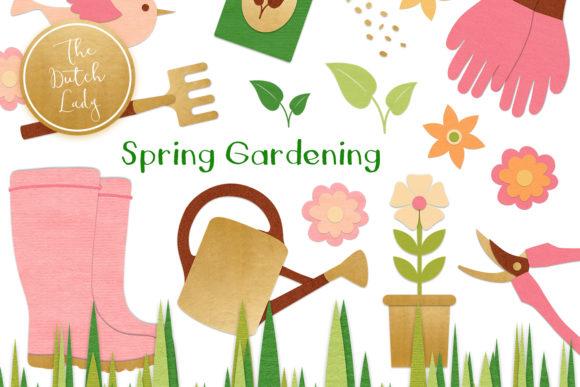 Spring Gardening Tools Clipart Set
