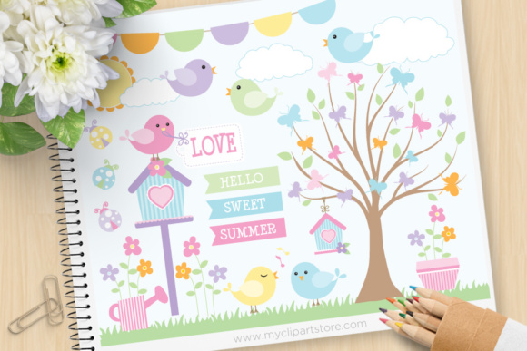 Summer Song Birds Clipart