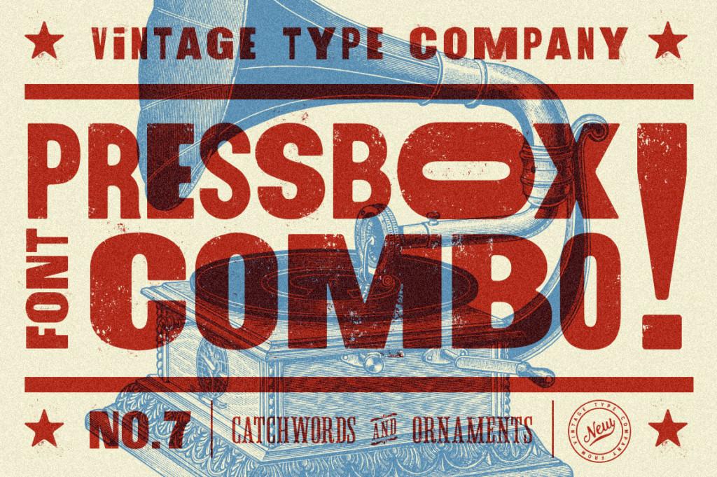 PRESSBOX LETTERPRESS FONT COMBO