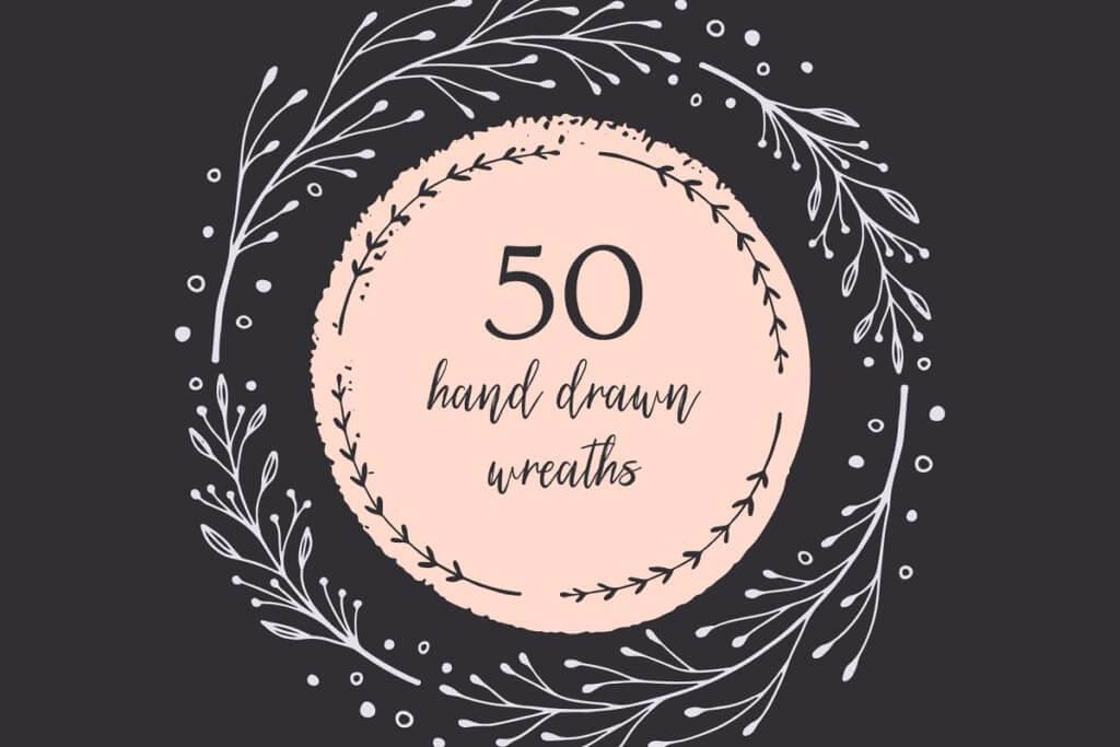 50 Hand Drawn Wreaths