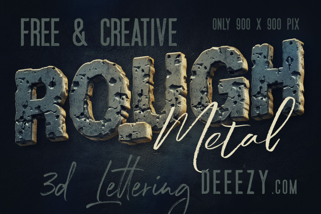 Free Rough Metal 3D Lettering