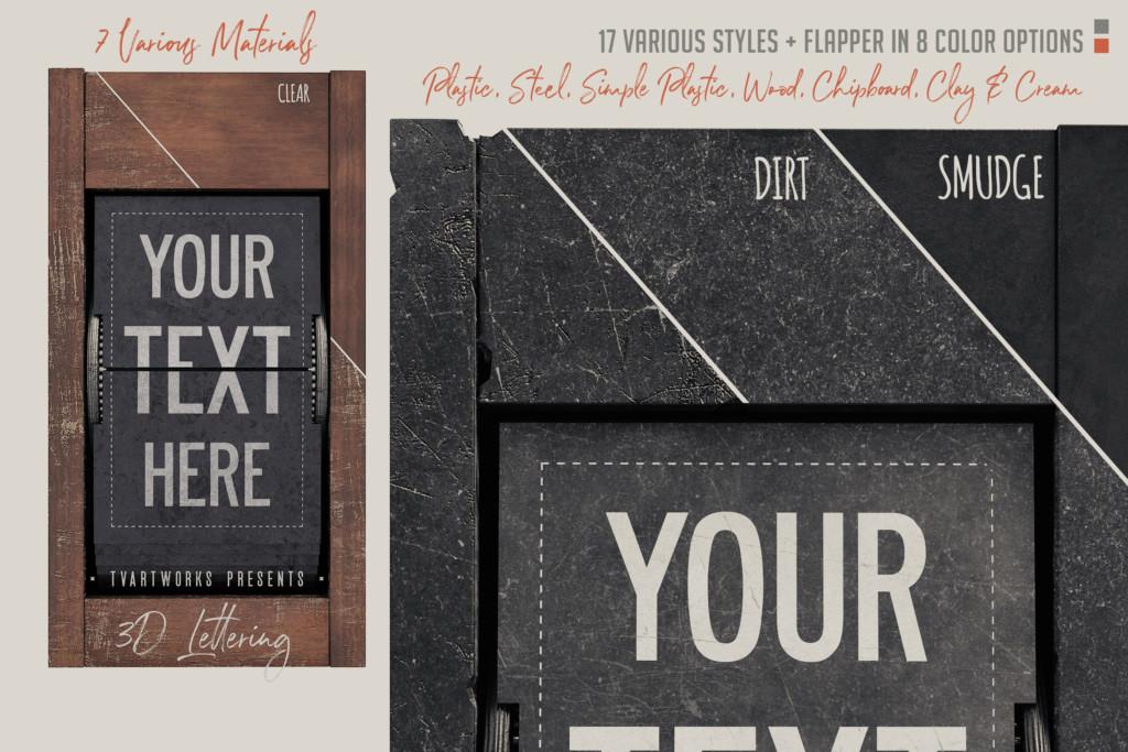 懐かしのテレビ番組風レタリング素材とポスターモックアップ素材:SPLIT-FLAP TYPOGRAPHY CREATOR