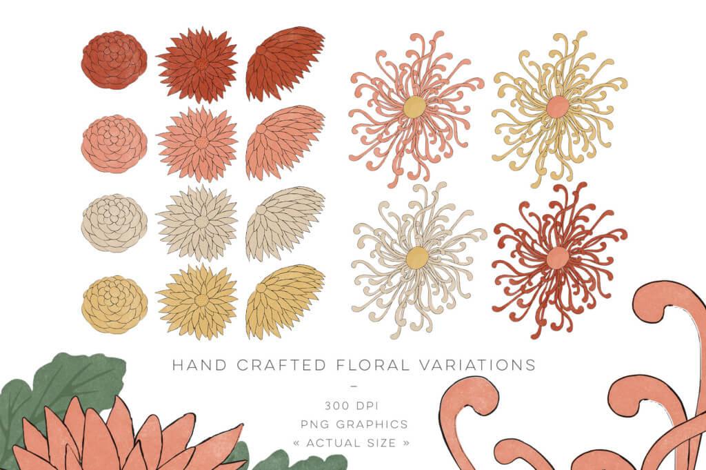組み合わせ無限大!レトロな和柄のパターン素材:VINTAGE JAPANESE FLOWERS