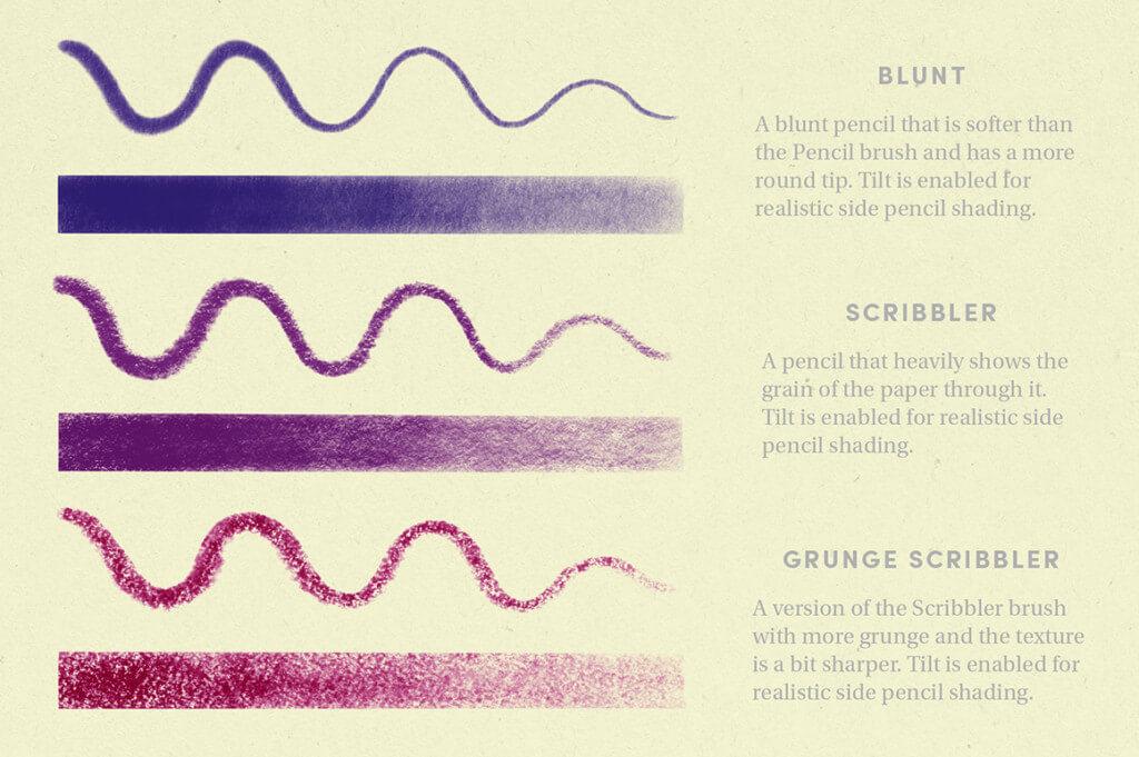 鉛筆のタッチにとことんこだわったプロクリエイトブラシセット:PENCIL PACK – PROCREATE BRUSHES