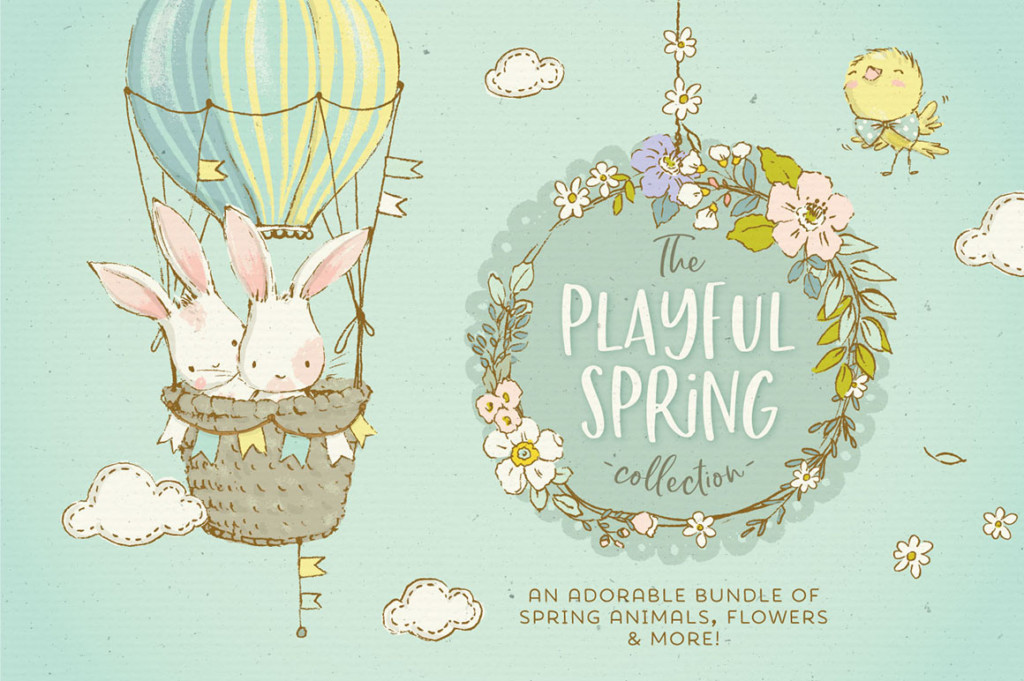 The Playful Spring Animals & Flowers Collection
